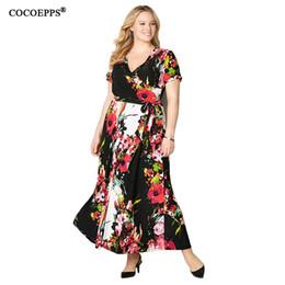 a8bdf26629d 5XL 6XL 2018 цветочные печати длинное платье большой размер летние  старинные женщины платье плюс размер Maxi женский Vestidos пляж шифоновые  платья