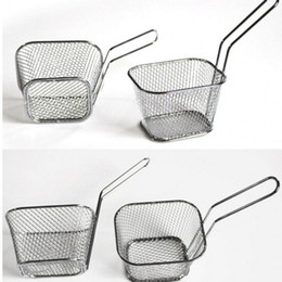 fries basket 2019 - New Kitchen tools Frying Basket Kitchen Tools Electroplate Stainless Steel Mini Frying Basket Mesh Basket Strainer Net d
