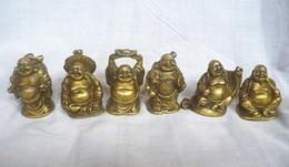 $enCountryForm.capitalKeyWord Australia - Chinese Brass YuanBao Wealth Money Bag 6 Happy Laughing Maitreya Buddha Statue