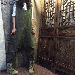 6fc32aa8b5cd Fashion ZANZEA Women Rompers Sleeveless Solid Casual Loose Harem Cargo  Pants Summer Drop Crotch Cotton Linen Overalls Jumpsuits