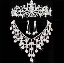 Discount cheap party crowns - 2019 New Cheap Tiaras Crowns Wedding Hair Jewelry neceklace,earring Cheap Wholesale Fashion Girls Evening Prom Party Dre