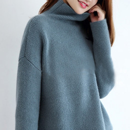 e4f9982ecd9 Hot Sale Sweaters Women 100% Cashmere and Wool Jumpers Loose Style Woman  Pullovers Turtleneck Sweater Ladies Clothes Woolen Tops S118