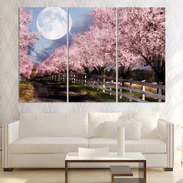 pink decorative paintings Australia - 3 Pcs Pink Tree Moon Night Modern Style Abstract Canvas Oil Painting Landscape Poster Pictures Decorative Painting Wall Art No Frame