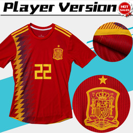 soccer shirts spain 2019 - Player version 2018 world cup Spain home red Soccer Jersey Spain soccer shirt #7 MORATA #22 ISCO #20 ASENSIO #15 RAMOS F