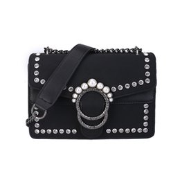 Vintage black pearl ring online shopping - Fashion Matte PU leather Chain Bag Female New Designer Diamond Pearl Beads Ring Decoration Messenger bag Retro Single Shoulder Bag