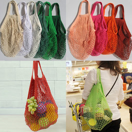 Shop bag fruit online shopping - Reusable String Shopping Fruit Vegetables Grocery Bag Shopper Tote Mesh Net Woven Cotton Shoulder Bag Hand Totes Home Storage Bag WX9