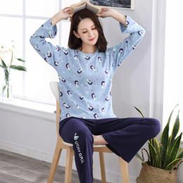 a48b5ee572 Hot Sale Autumn 100%Cotton Long Sleeve Round Neck Women Pajamas Set Cartoon Leisure  Big Size M-XXL Female Homewear Clothing