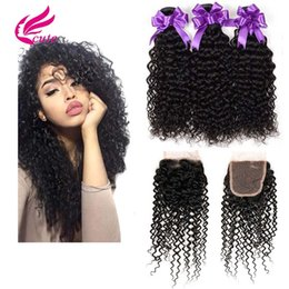 brazilian virgin curly hair weave closure Australia - Brazilian Kinky Curly Wefts With Closure 100% Human Virgin Hair Weaves 8A Unprocessed 3 Curly Bundles with 4x4 Lace Closure Natural Color