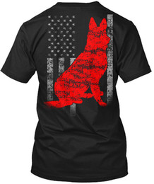 Wholesale German Shepherd Dog Outline on US Flag Shirt Flag Cool Casual Sleeves Cotton T Shirt Fashion New T Shirts Tagless Tee T Shirt