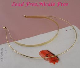 5pcs plaine d'or double couches double fils métalliques bandeaux cheveux bandeaux à nickle libre et sans plomb, en gros en Solde