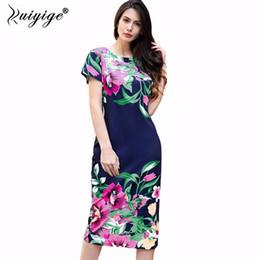7e7ec0bde4 Ruiyige 2018 Women Ladies Summer Casual O neck Party Dresses Sexy Flower  Print Back Zip Vintage Pencil Sheath Vestidos Dress