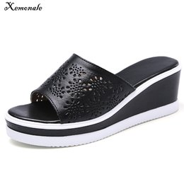 ladies white leather flip flops Australia - Xemonale Summer Slippers Shoes Mules Floral Cut Out Leather wedge Flat Platform Slides Outside Ladies Cow Leather Flip Flops