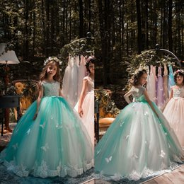 evening gowns kids 2019 - 2019 New Lovely Mint Green Girls Pageant Dresses Ball Gown Lace Appliqued Butterflies Kids Evening Prom Party Gowns BA75