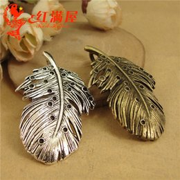 $enCountryForm.capitalKeyWord NZ - 28*48MM Antique feather charms bronze metal, tibetan silver sweater chain pendant, brass copper alloy jewelry making wholesale