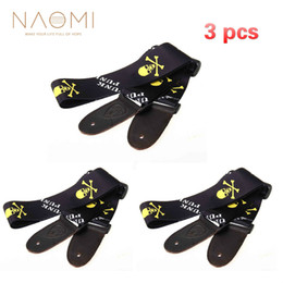 black guitar strap Canada - NAOMI Guitar Strap 3 PCS Black Skull Belt For Acoustic Guitar Electric Guitar Parts Accessories New