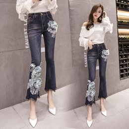 $enCountryForm.capitalKeyWord NZ - 2018 new women's embroidered appliques jeans trend Female cotton slim blue boot cut pants fashion beading ankle-length jeans