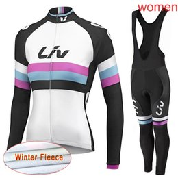 LIV team Cycling Winter Thermal Fleece jersey (bib) pants sets high quality  outdoor Breathable 3D gel pad Ropa Ciclismo women C2110 178100667