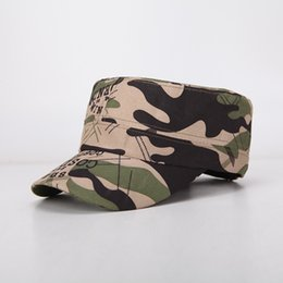 Caps men military online shopping - Summer Outdoor Sports Hat Fashion Embossing Camouflage Baseball Cap For Men And Women Flat Top Caps Popular bd B