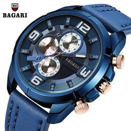 japan movement watches 2019 - blue man wristwatches genuine leather quartz Mens watches BAGARI brand sports men's clock waterproof luminous Japan