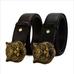 Tiger Head Belt NZ - Mens Belts Luxury 3D Tiger Head Belt Buckle Genuine Leather Men Belt Ceinture Homme Cinturones Hombre Cowboy Jeans Belt