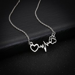 wholesale paw print Australia - Creative ECG dog paw print love necklace fashion cute Pet footprints short wave shape heart clavicle chain necklace