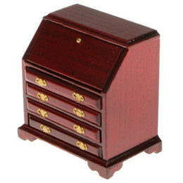 Red Living Room Furniture NZ - 1 12 Dollhouse Miniature Furniture Wooden Living Room Cabinet Bedroom Drawer Wine Red
