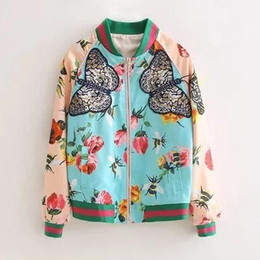 Wholesale peony embroidery resale online - Sudaderas women fall runway designer phoenix bird peony flower butterfly printed heavy embroidery baseball uniform coat
