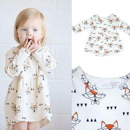 Fox brand clothes online shopping - INS Baby girls fox Glasses Printed dress new Children Long Sleeve princess dress Kids Clothing C3725