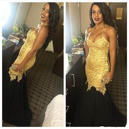 2018 Charming Halter Neck Mermaid Prom Dresses Appliques Sequins Sexy  Sleeveless Plus Size Lace Unique Design Evening Gowns Party Dresses 7324cdc02eb5