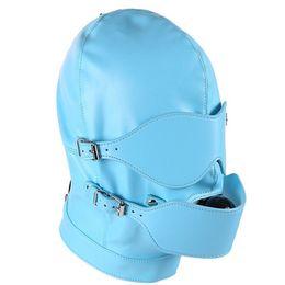 Ball Hood Bondage Australia - Bdsm Fetish Sex Leather Hood Mask Headgear Mouth Plug Ball Gag Bondage Slave Restraint Lockable Flirting Toys In Adult Games