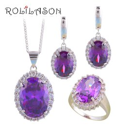 Necklace Stamps Australia - ROLILASON Nobby Purple Zircon Silver Stamped Earrings Necklace Pendant Health Fashion Jewelry Sets Ring Sz #6#7#8#9#10 JS693