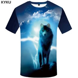 e4f23c1bdc5e KYKU Brand Wolf T shirt Lightning Tshirt Cloud Clothing Animal Clothes  shirts T-shirt Men 3d Top Tee Punk XS-8XL