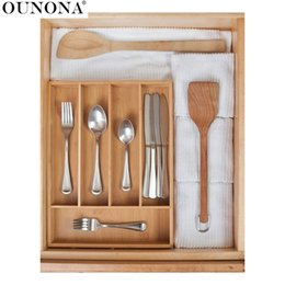 Organizer Storage Drawers Canada - Bamboo Storage Box Drawers Utensil Drawers Knife Storage Holders Kitchen Accessories Organizer for Home Use