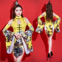 e6fbb3da8 Sexy Club Female Leading Dancer DS Dance Wear Bar DJ Singer Stage Costume  Jazz Performance Outfit Retro Cheongsam Printing Sets