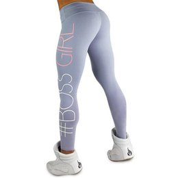 Discount white girls yoga pants - Women's Boss Girl Printed High Waist Quick Dry Sport Fitness Leggings Gym Clothing For Women mallas mujer deportiva