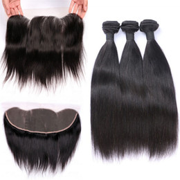 $enCountryForm.capitalKeyWord UK - Raw Indian Human Hair Bundles Weaves With Lace Frontal Straight Unprocessed Virgin Hair Weft And Ear To Ear Lace Closure Natural Color 4pcs