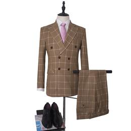 men elegant vest 2019 - Trim Fit Peaked Collar Elegant Men Suits Wedding Groom Tuxedos Double Breasted 3 Pieces (Jacket+Pants+Vest) Suits Plaid