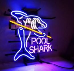 shark glasses NZ - Pool Shark glass tube Neon Light Sign Home Beer Bar Pub Recreation Room Game Lights Windows Glass Wall Signs 24*20 inches