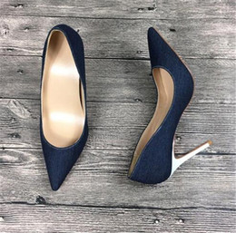 Wedding Shoes Boots Australia - Free Shipping fashion woman women lady 2018 New blue denim white leather Poined Toes Wedding heels Stiletto High Heels shoes pumps boots