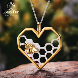 Fun Pendant Australia - Lotus Fun Real 925 Sterling Silver Handmade Fine Jewelry Honeycomb Home Guard Love Heart Shape Pendant without Chain for Women S18101308