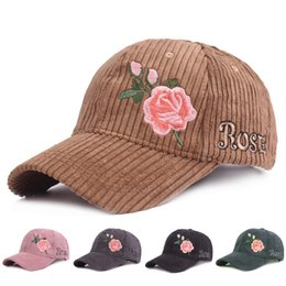 Rose Embroidery Baseball Caps for Women Warm Floral Snapback Caps Female  Hip Hop Hats Autumn Winter Ladies Cotton Adjustable Hat 562a9524608