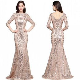 sequin prom dress full sleeves NZ - 2019 Special Design Rose Gold Designer Occasion Dresses Mermaid Long Sleeves Full Sequins Lace Evening Dress Luxury Prom Party Gowns