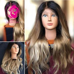 Blonde Long Wavy Human Hair Wigs Australia - Fantasy Ombre Blonde Human Hair Lace Front Wigs Brazilian Remy Hair Natural Wave 13*4 Pre-Plucked Front Wigs with Baby Hair