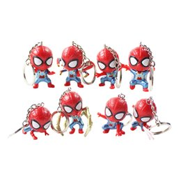 $enCountryForm.capitalKeyWord UK - 8pcs set Avengers Spiderman Keychain Super Hero Iron Spider Keyring QVersion Pendant PVC Action Figure Collection Model Toy