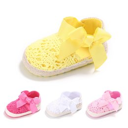 Chinese  Lovely Infant Toddler Princess First Walkers Newborn Baby Girls Kid Prewalker Soft Soled Shoe Bow Dress Knitting Shoes Footwear manufacturers
