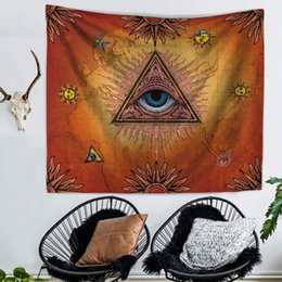 Discount hang curtain wall - 150x130cm Polyester Fabric Indian Eyes Tapestry Wall Hanging Door Curtain Bedspread Yoga mat Home Decoration Accessories