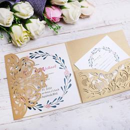 Wholesale 2019 New style Customize Gorgeous Gold Square Wedding Birthday Graduation Engageme Invitations Cards Free Printing
