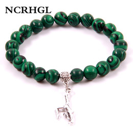 $enCountryForm.capitalKeyWord Australia - NCRHGL New Fashion Malachite GYM Charm Beaded Bracelets 8MM Beads Natural Stone Bracelet In Natural Jewelry For Women Female Men