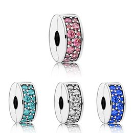 Clip Charms Free Shipping Australia - free shipping 1pc silver white pink red lake blue crystal round clip safety bead Fits European Charm Bracelets A003