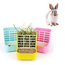 foods for rabbits 2020 - Rabbit Feeder Bowl Small Animal Supplies Rabbit Chinchillas Guinea Pig 2 In 1 Feeder Bowls Double use for Grass and Food